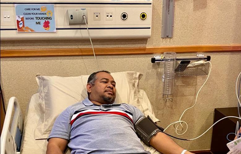 凯鲁丁周三在脸书分享他入院的照片。-图取自凯鲁丁脸书-