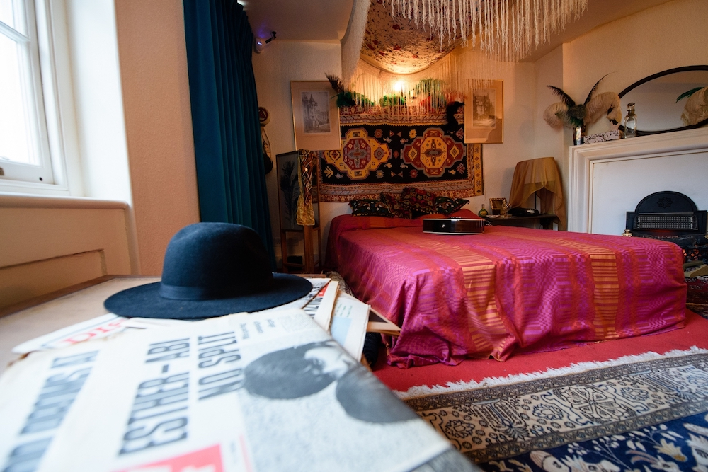 The recreated bedroom of US musician Jimi Hendrix, is seen in the room he actually rented, to promote a forthcoming exhibition, in central London. — AFP pic