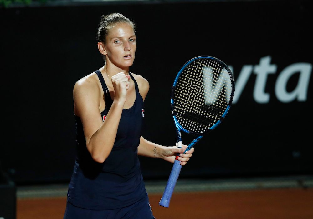 Czech Republic's Karolina Pliskova celebrates after winning her quarter final match against Belgium's Elise Mertens in Rome September 19, 2020. — Pool via Reuters/Clive Brunskill