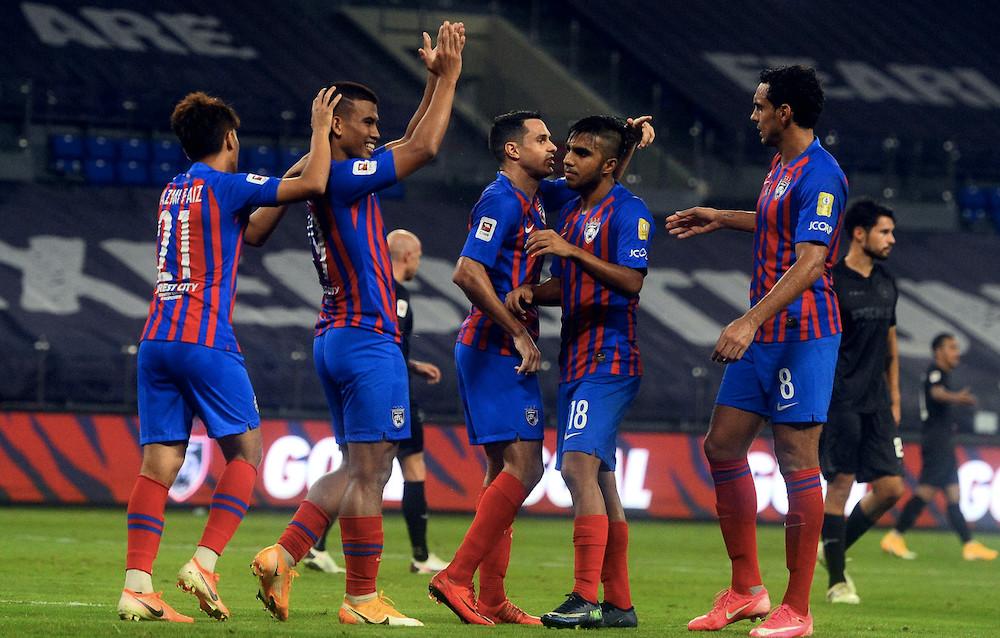 JDT players celebrate a goal during the Super League title match against Selangor at Iskandar Puteri, Johor September 19, 2020. — Bernama pic