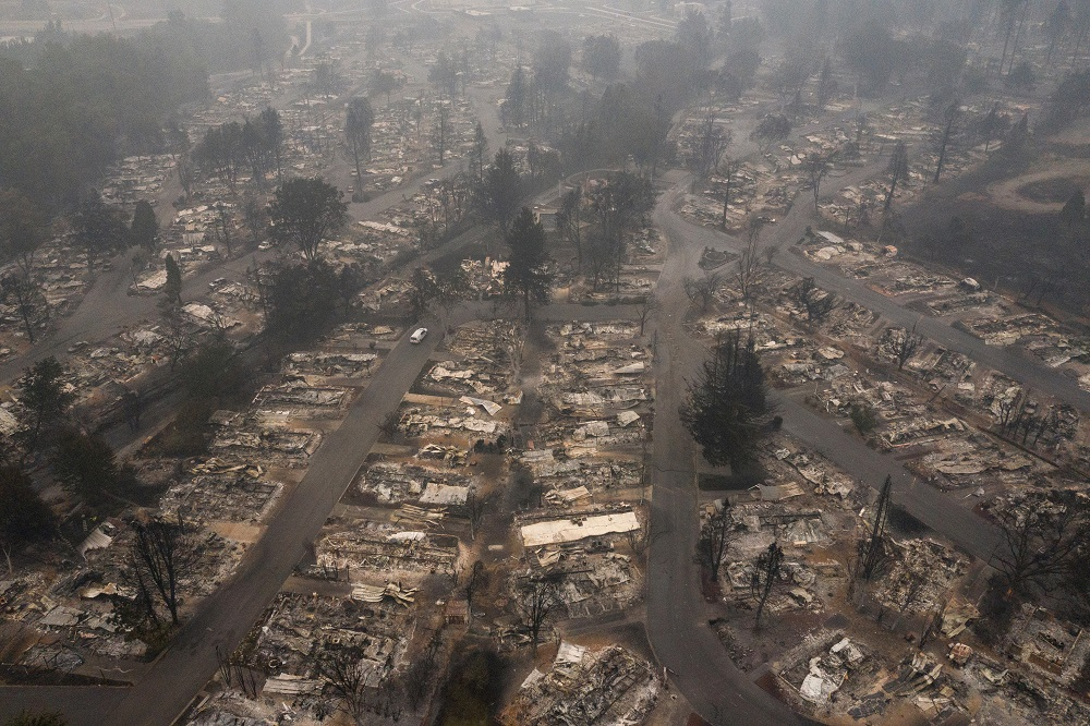The gutted Medford Estates neighbourhood is seen in the aftermath of the Almeda fire in Medford, Oregon September 11, 2020. — Reuters pic