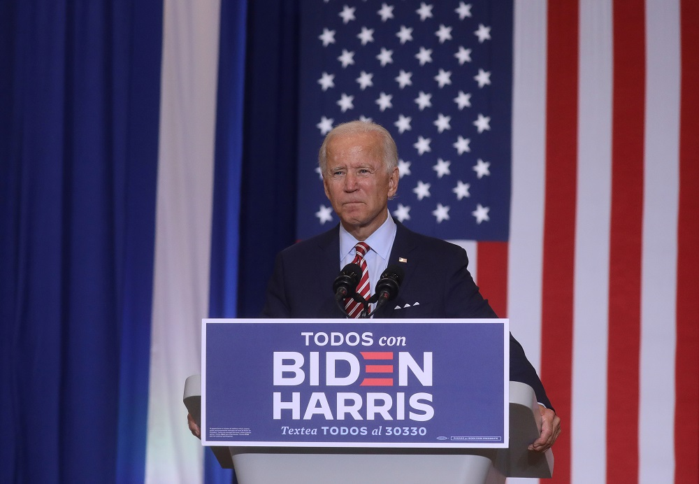 Democratic US presidential nominee Joe Biden speaks at a Hispanic Heritage Month event at Osceola Heritage Park in Kissimmee, Florida September 15, 2020. — Reuters pic