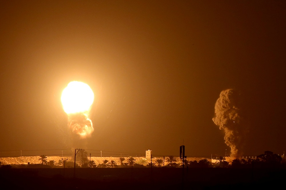 Smoke and flame are seen following an Israeli air strike in the southern Gaza Strip September 16, 2020. — Reuters pic