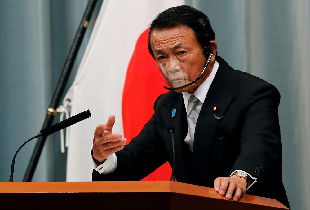 Japan's newly-appointed Finance Minister Taro Aso speaks at a news conference in Tokyo September 16, 2020. — Reuters pic