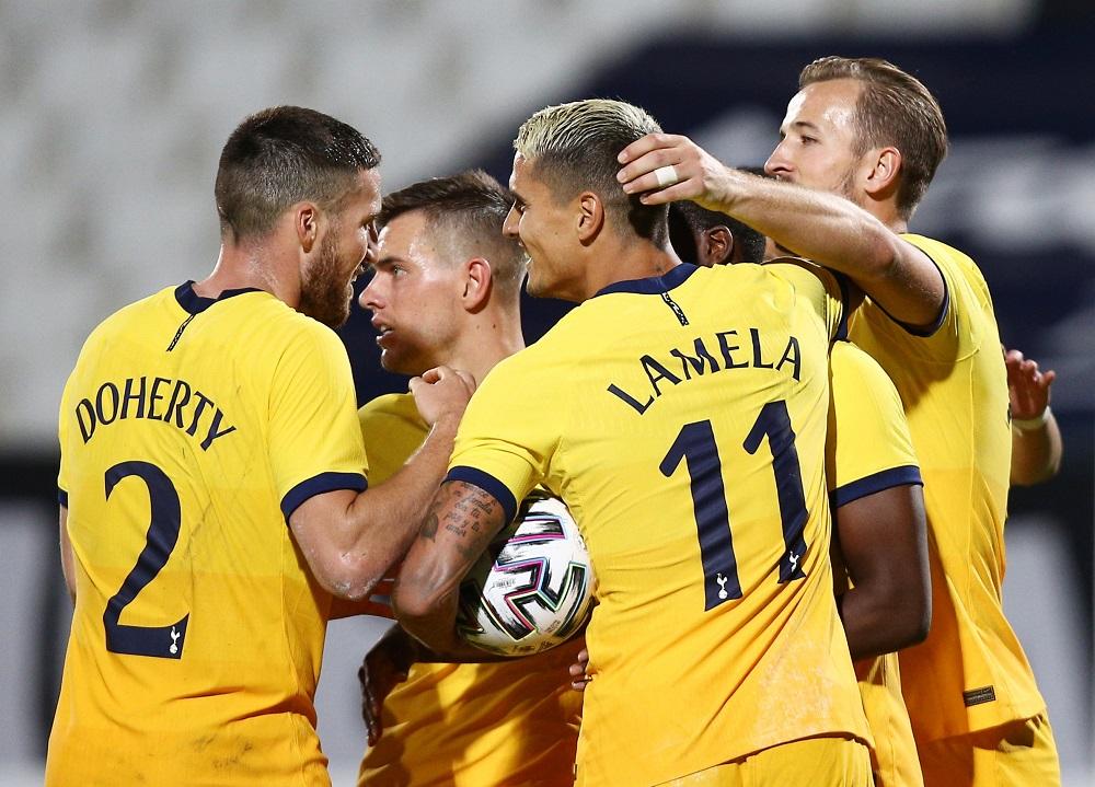 Tottenham Hotspur's Tanguy Ndombele celebrates scoring their second goal with Erik Lamela, Harry Kane and teammates at the Stadion Lokomotiv in Plovdiv, Bulgaria September 17, 2020. — Reuters pic