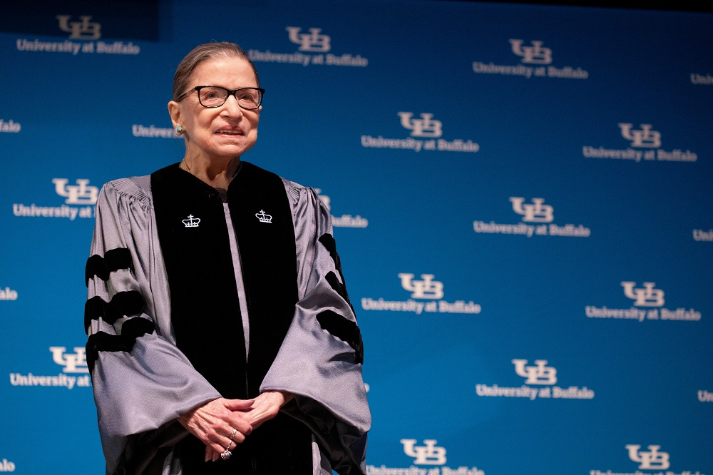 US Supreme Court Justice Ruth Bader Ginsburg smiles during a reception where she was presented with an honorary doctoral degree at the University of Buffalo School of Law in Buffalo, New York August 26, 2019. — Reuters pic