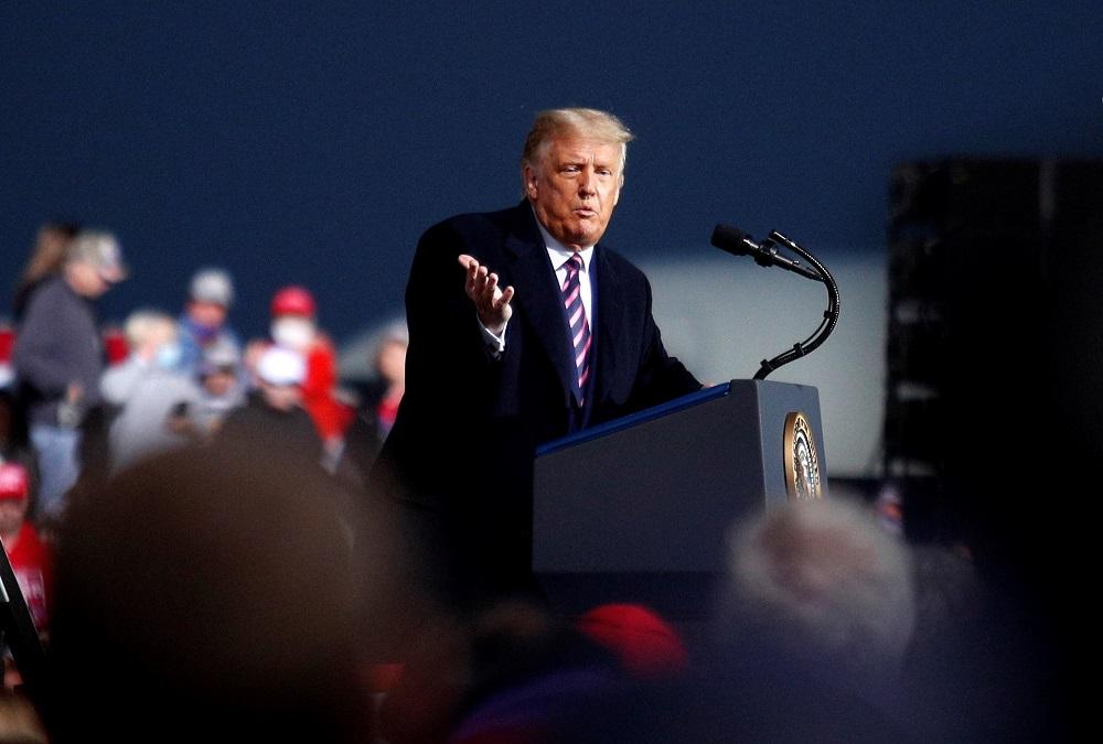 US President Donald Trump holds a campaign rally at Bemidji Regional Airport in Bemidji, US September 18, 2020. — Reuters pic