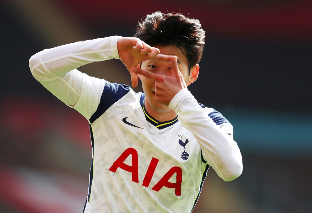 Tottenham Hotspur's Son Heung-min celebrates scoring their second goal against Southampton at the St Mary's Stadium in Southampton September 20, 2020. — Picture by Pool via Reuters