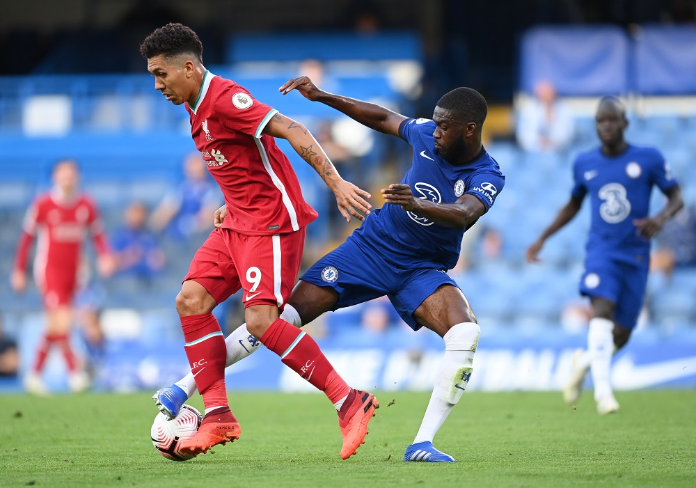 Liverpool's Roberto Firmino in action with Chelsea's Fikayo Tomori at Stamford Bridge in London September 20, 2020. — Picture by Pool via Reuters
