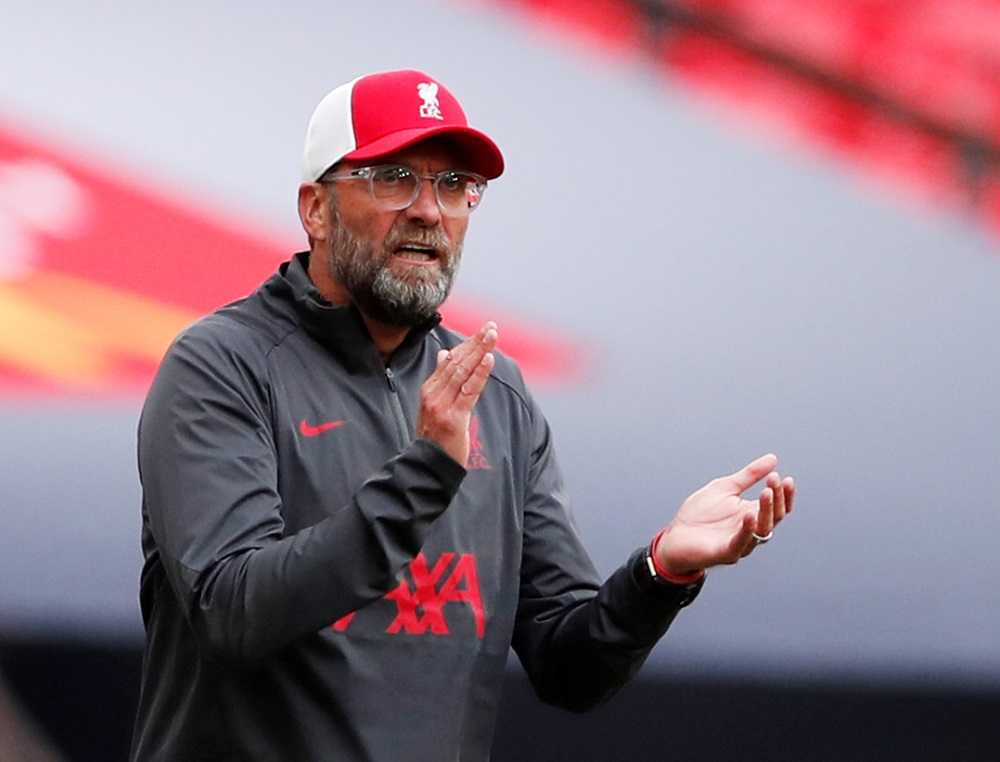 Liverpool manager Juergen Klopp at the FA Community Shield match against Arsenal August 29, 2020. — Picture by Pool via Reuters