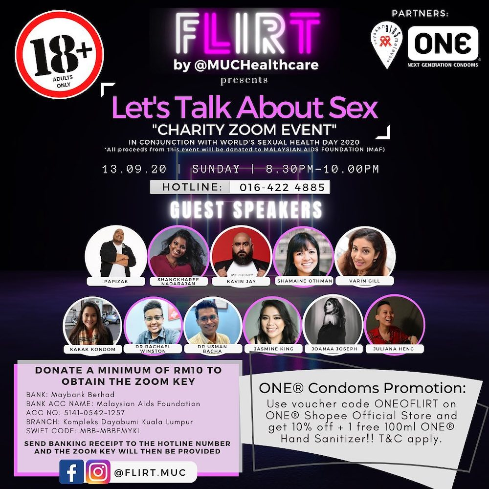Virtual charity event 'Flirt' brings together a diverse line-up of guest speakers to share their knowledge and take on various sexual topics this Sunday. — Picture via Facebook/malaysianaidsfoundatio