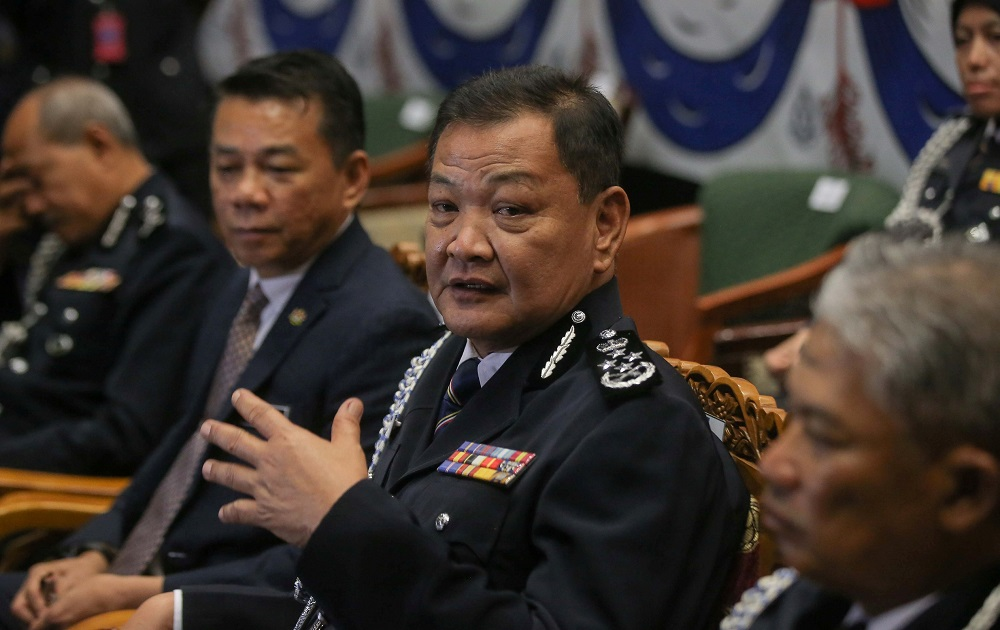 Inspector-General of Police Tan Sri Abdul Hamid Bador speaks to the press during a press conference at the Police Air Force Team Training Base in Ipoh September 11, 2020. — Picture by Farhan Najib