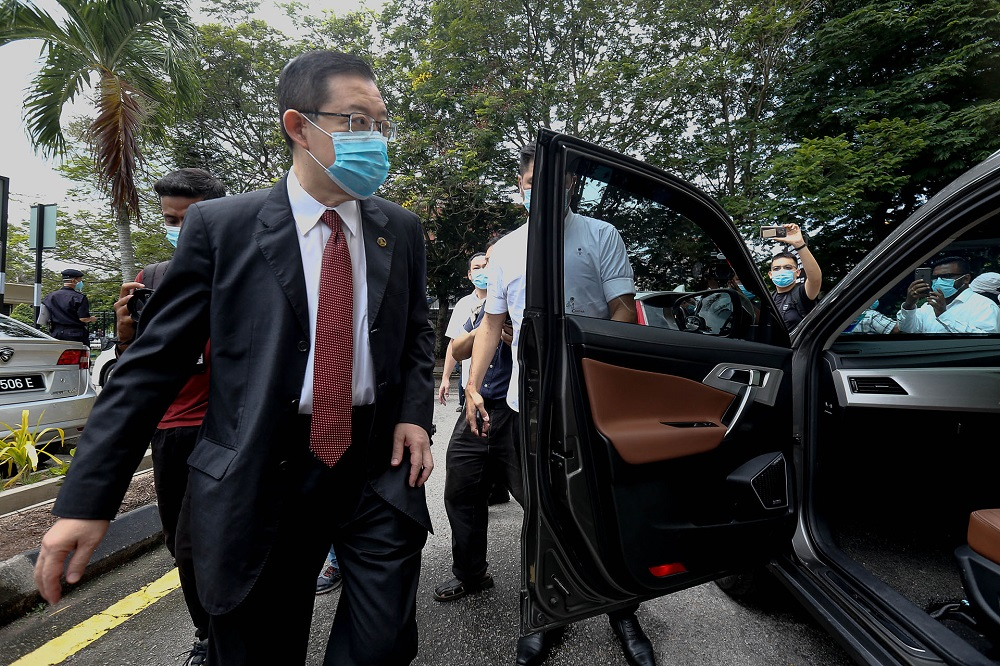 Former Penang chief minister Lim Guan Eng (centre) leaves the Butterworth Sessions Court September 11, 2020. — Picture by Sayuti Zainudin