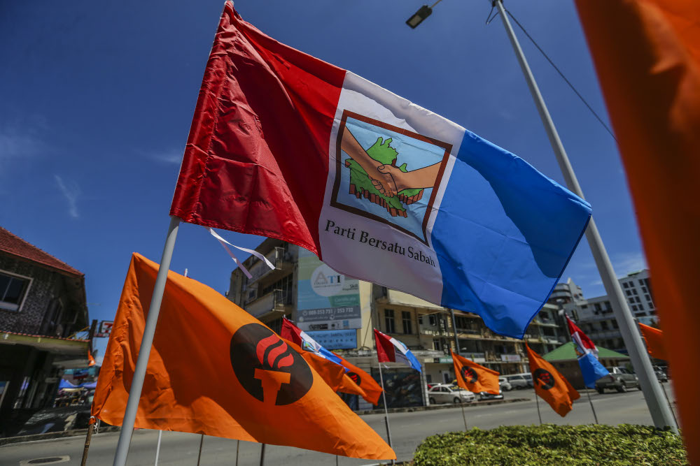 General view of Parti Bersatu Sabah (PBS) flag during the Sabah state election in Kota Kinabalu, Sabah September 13, 2020. — Picture by Firdaus Latif