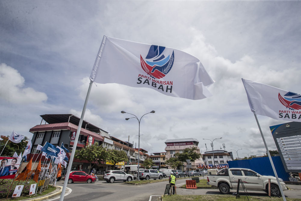 A general view of Parti Warisan Sabah (Warisan) flag during the Sabah State Election campaign in Luyang, Sabah September 14, 2020. — Picture by Firdaus Latif