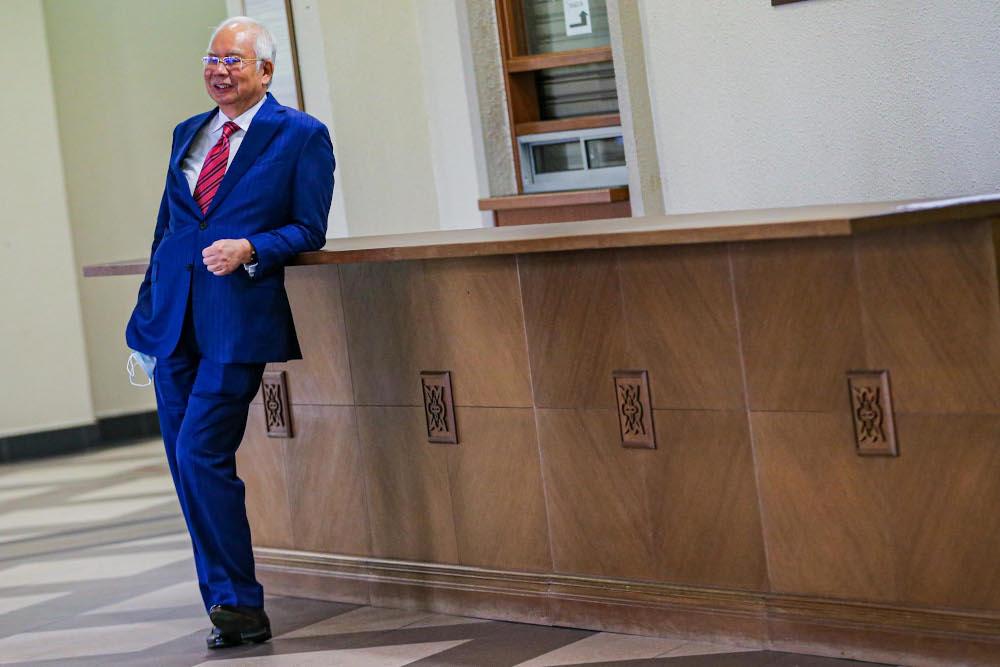 Former prime minister, Datuk Seri Najib Razak is pictured at Kuala Lumpur High Court on September 14, 2020. — Picture by Hari Anggara