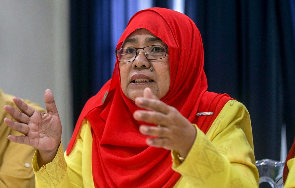 Parti Putra Perkasa Malaysia (Putra) vice-president Datuk Hamidah Osman speaks to reporters during a press conference at the party's office in Sunway City Tambun, Ipoh September 15, 2020. — Picture by Farhan Najib