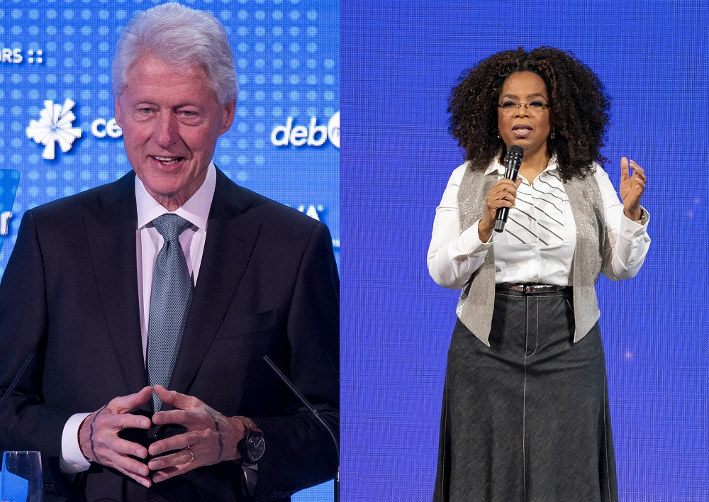 Podcast fans will soon have a chance to discover new shows with Bill Clinton (left) and Oprah Winfrey (right). — AFP pic