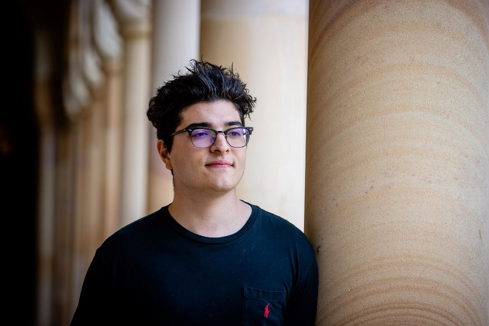 Student Drew Pavlou posing for a photo on the campus of the University of Queensland in Brisbane September 1, 2020. — AFP pic