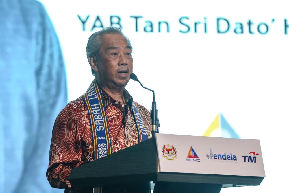 Prime Minister Tan Sri Muhyiddin Yassin speaks during the launch of Gerbang Sabah in Kota Kinabalu September 17, 2020. — Picture by Firdaus Latif