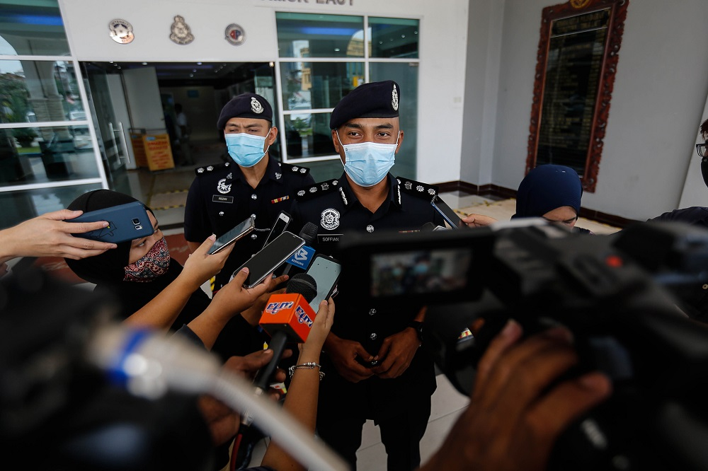 Northeast District police chief ACP Soffian Santong speaks to the press at the Northeast District Police Station in Penang September 21, 2020. — Picture by Sayuti Zainudin