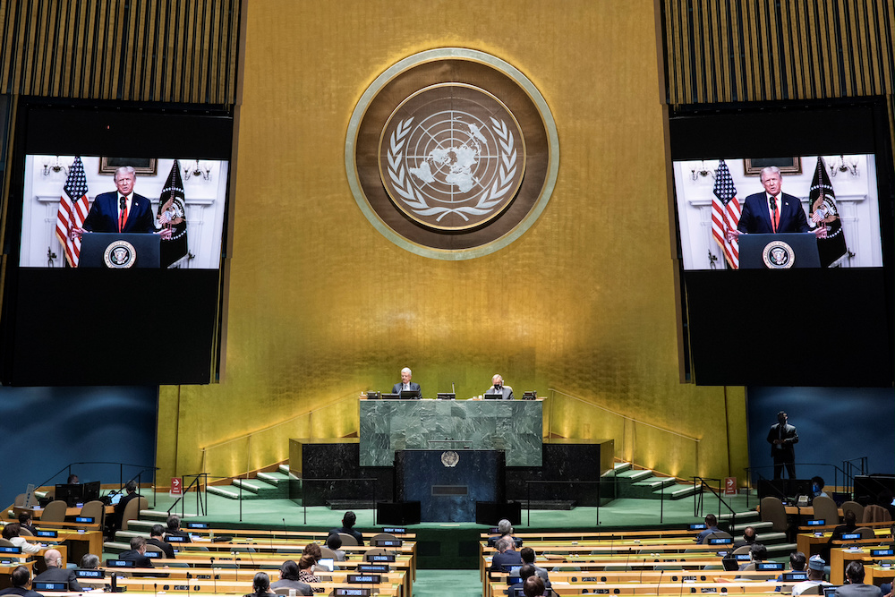 US President Donald Trump speaks during the 75th annual UN General Assembly, which is being held mostly virtually due to the coronavirus disease (Covid-19) pandemic in New York, September 22, 2020. — United Nations handout via Reuters