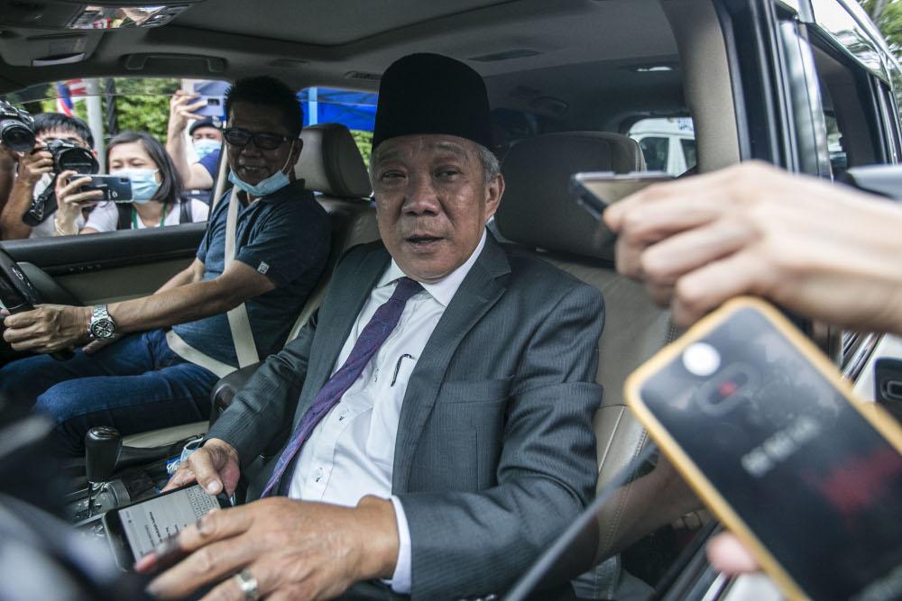 Sabah Umno chief Datuk Seri Bung Moktar Radin speaks to reporters after an audience with the Yang di-Pertua Negeri Tun Juhar Mahiruddin at Istana Negeri, Kota Kinabalu September 27, 2020. — Picture by Firdaus Latif