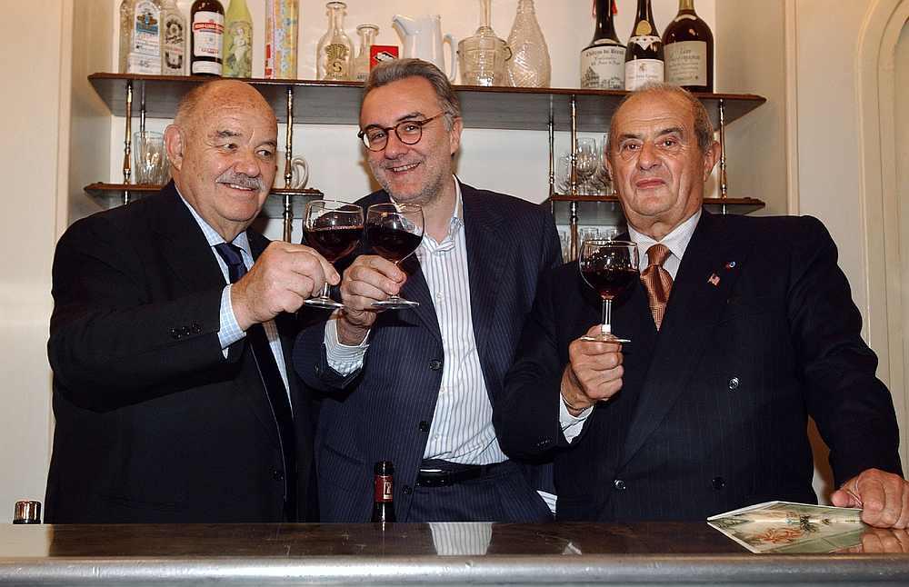 Chef Alain Ducasse (centre) and chefs Pierre Troisgros (left) and Paul Bocuse — AFP pic