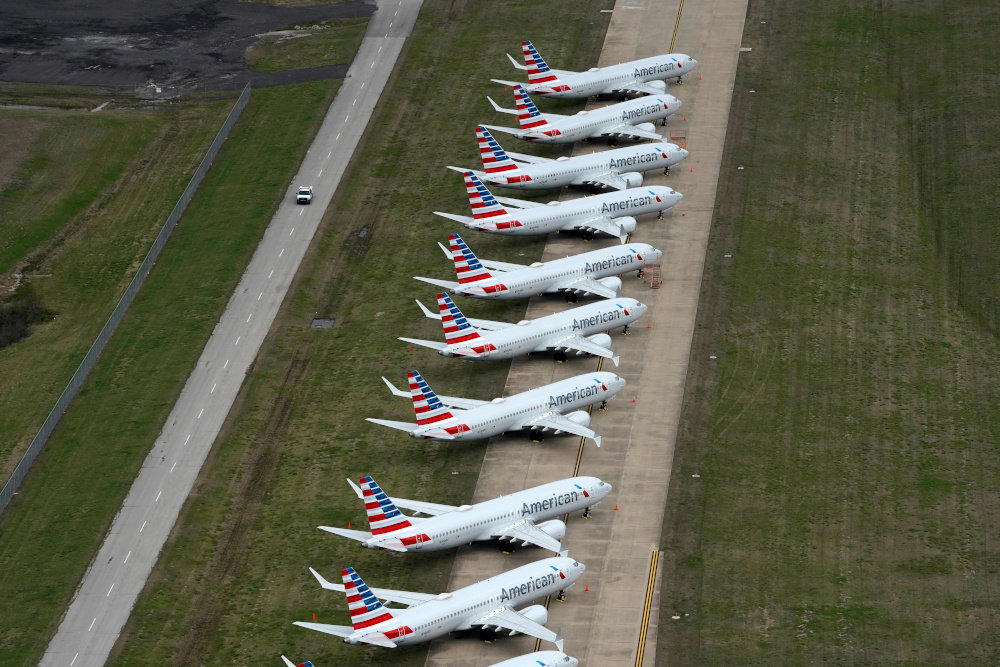 American Airlines 737 max passenger planes are parked on the tarmac at Tulsa International Airport in Tulsa, Oklahoma, US March 23, 2020. — Reuters pic