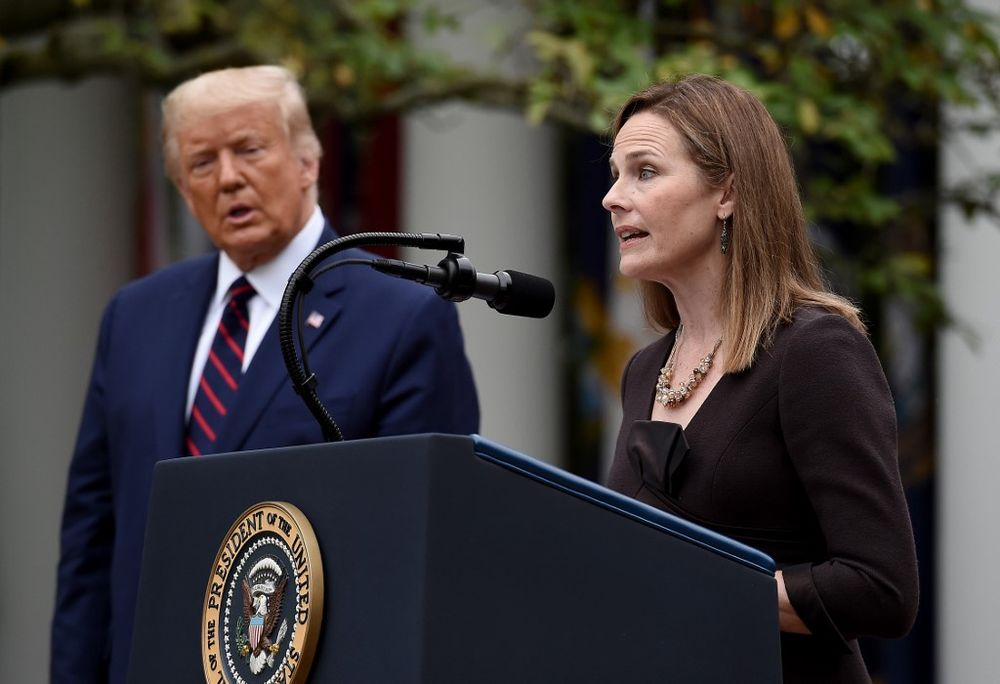 Judge Amy Coney Barrett speaks after being nominated to the US Supreme Court by President Donald Trump in the Rose Garden of the White House in Washington, DC on September 26, 2020. — AFP pic