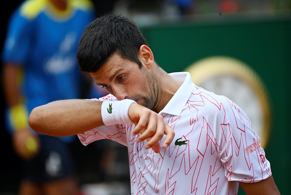 Serbia's Novak Djokovic during his quarter final match against Germany's Dominik Koepfer  at the Italian Open in Rome, September 19, 2020. ― Reuters pic