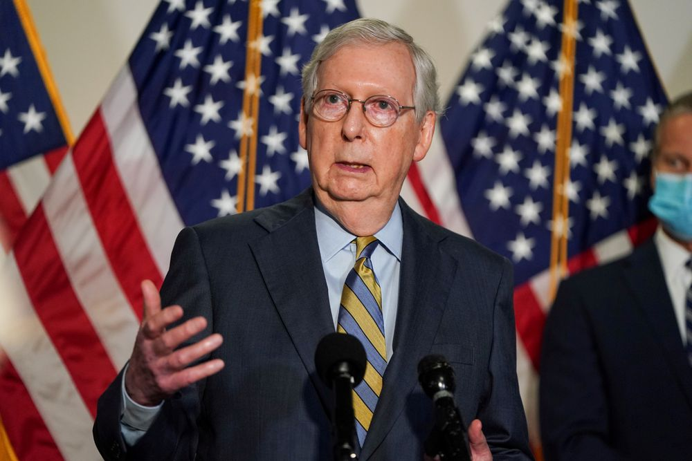 Senate Majority Leader Mitch McConnell (R-KY) has made confirming Trump's Supreme Court nominee a priority. — Reuters pic
