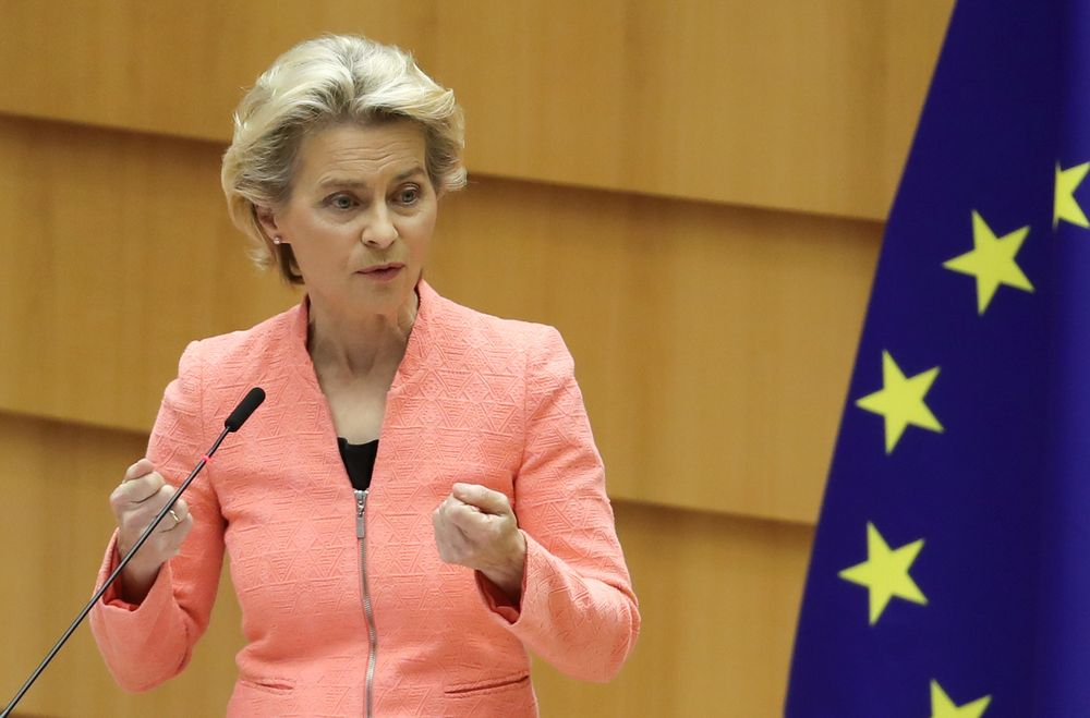 European Commission President Ursula von der Leyen gestures as she addresses her first State of the European Union speech during a plenary session of the European Parliament as the Covid-19 outbreak continues, in Brussels, September 16, 2020. — Reuters pic