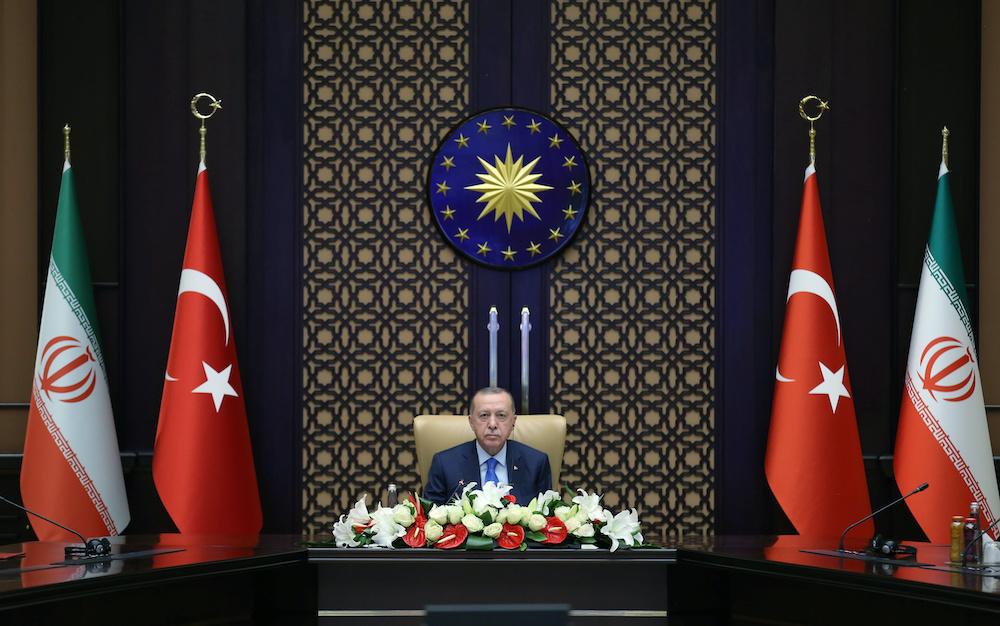 Turkish President Tayyip Erdogan attends a meeting with his Iranian counterpart Hassan Rouhani via videolink in Ankara, Turkey, September 8, 2020. — Reuters pic