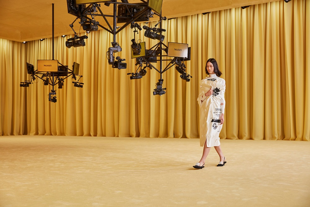 A model presents a creation from the Prada Spring/Summer 2021 women's collection during fashion week in Milan in this handout photo released on September 24, 2020. ― Handout via Reuters