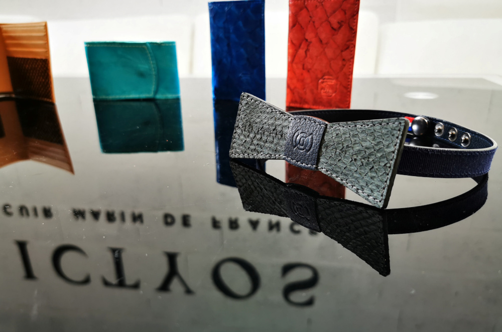 A bow tie made with salmon leather is displayed at Ictyos' showroom in its workshop in Saint-Fons, near Lyon, France, September 17, 2020. — Reuters pic