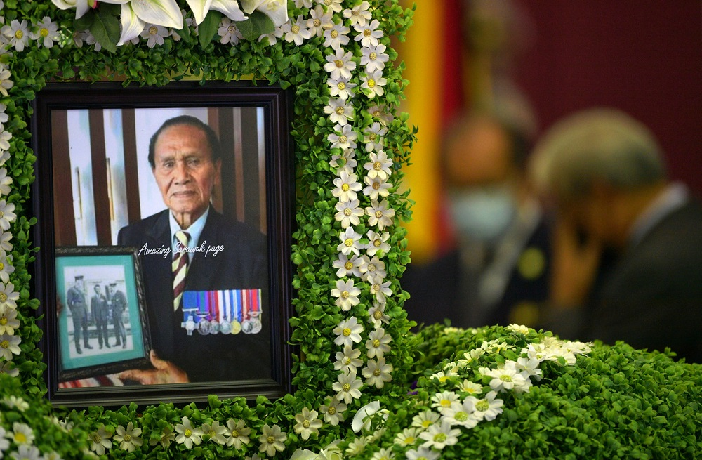A photo of the late Iban war hero Awang Raweng is seen during his wake in Kuching September 21, 2020. — Bernama pic