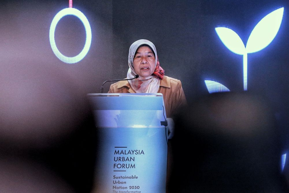 Housing and Local Government Minister Zuraida Kamaruddin delivers her speech during the opening ceremony of the Malaysia Urban Forum 2020 in Kuala Lumpur September 28, 2020. — Picture by Ahmad Zamzahuri