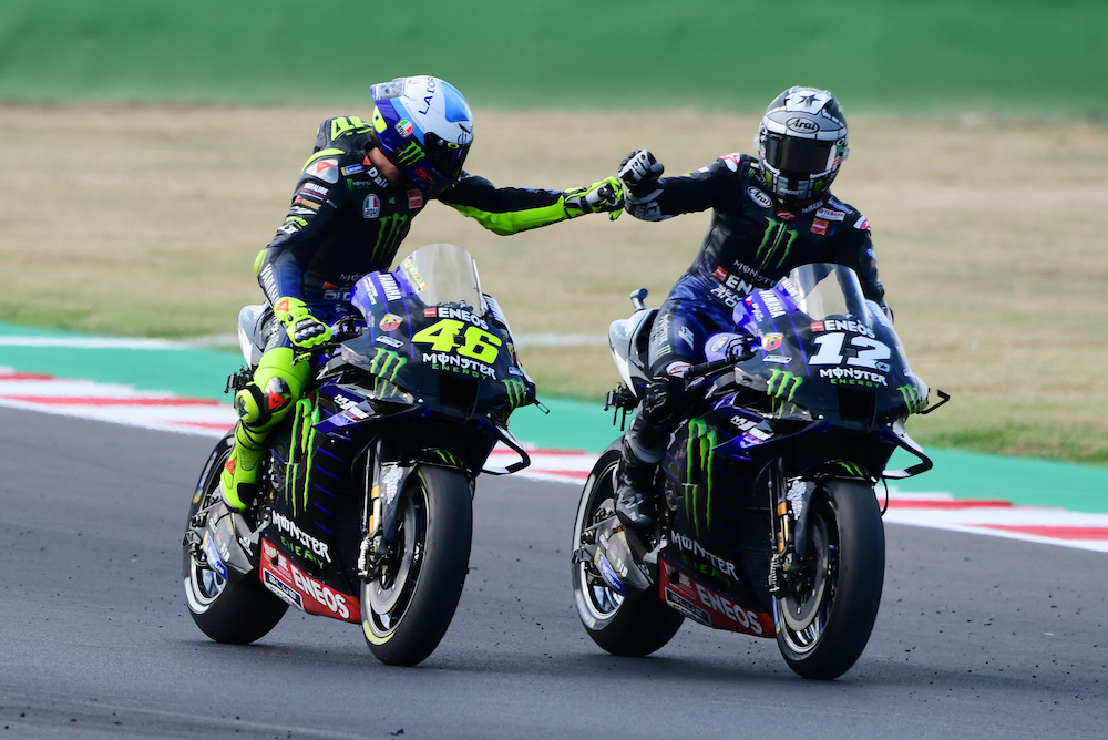 Monster Energy Yamaha's Maverick Vinales celebrates qualifying in pole position with Monster Energy Yamaha's Valentino Rossi  at the Misano World Circuit in Misano, Italy, September, 19, 2020. ― Reuters pic