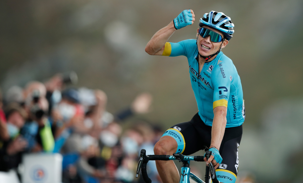 Team Astana rider Colombia's Miguel Angel Lopez celebrates as he crosses the finish line atop the Loze pass at the end of the 17th stage of the 107th edition of the Tour de France cycling race, September 16, 2020. — AFP pic