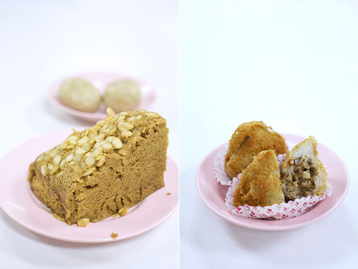 'Ma lai gou' or steamed sponge cake (left). 'Wu gok' or crispy taro puffs (right).