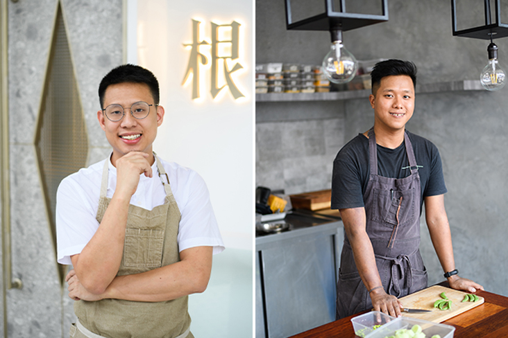 Johnson Wong started gēn 根 back in 2017 to champion local produce (left). Communal Table by gēn 根 is helmed by Perlis-born chef Kevin Ng (right)