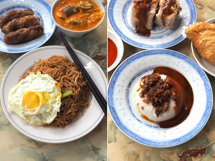 Start the day with a tasty fried 'beehoon' paired with fried egg, vegetable curry and 'lorbak' (left). There's a small selection of snacks like this 'woon chai koh' available (right). – Pictures by Lee Khang Yi