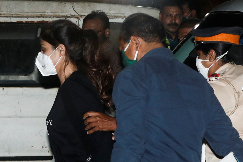 Bollywood actress Rhea Chakraborty arrives at the Narcotics Control Bureau (NCB) after she was arrested in Mumbai, India, September 8, 2020. — Reuters pic