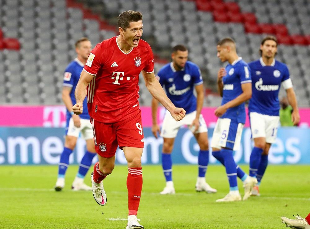 Bayern Munich's Robert Lewandowski celebrates after scoring the third goal against Schalke 04 September 19, 2020. ― Reuters pic