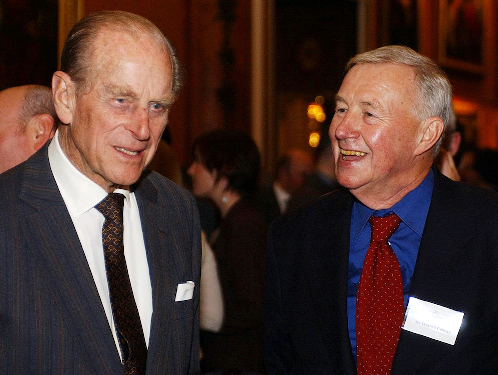 Britain's Duke of Edinburgh (left) meets designer and restaurateur Britain's Sir Terence Conran during a design reception at Buckingham Palace, London November 22, 2004, to mark the contribution made by the British design industry. — Reuters pic