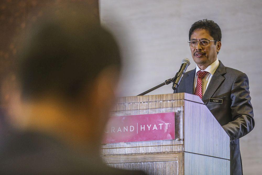 MACC chief commissioner Datuk Seri Azam Baki gives a speech during a Transparency International forum at the Grand Hyatt Kuala Lumpur September 15, 2020. — Picture by Hari Anggara