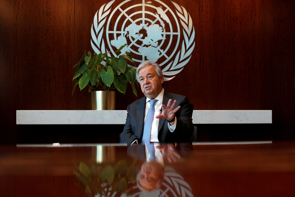 United Nations Secretary-General Antonio Guterres speaks during an interview with Reuters at UN headquarters in New York City, New York, US, September 14, 2020. — Reuters pic