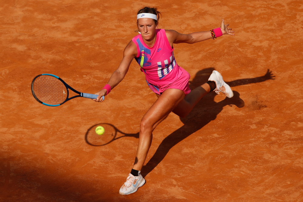 Victoria Azarenka of Belarus plays a forehand to Venus Williams of the USA on day three of the Women's Italian Open at Foro Italico September 16, 2020 in Rome, Italy. — AFP pic