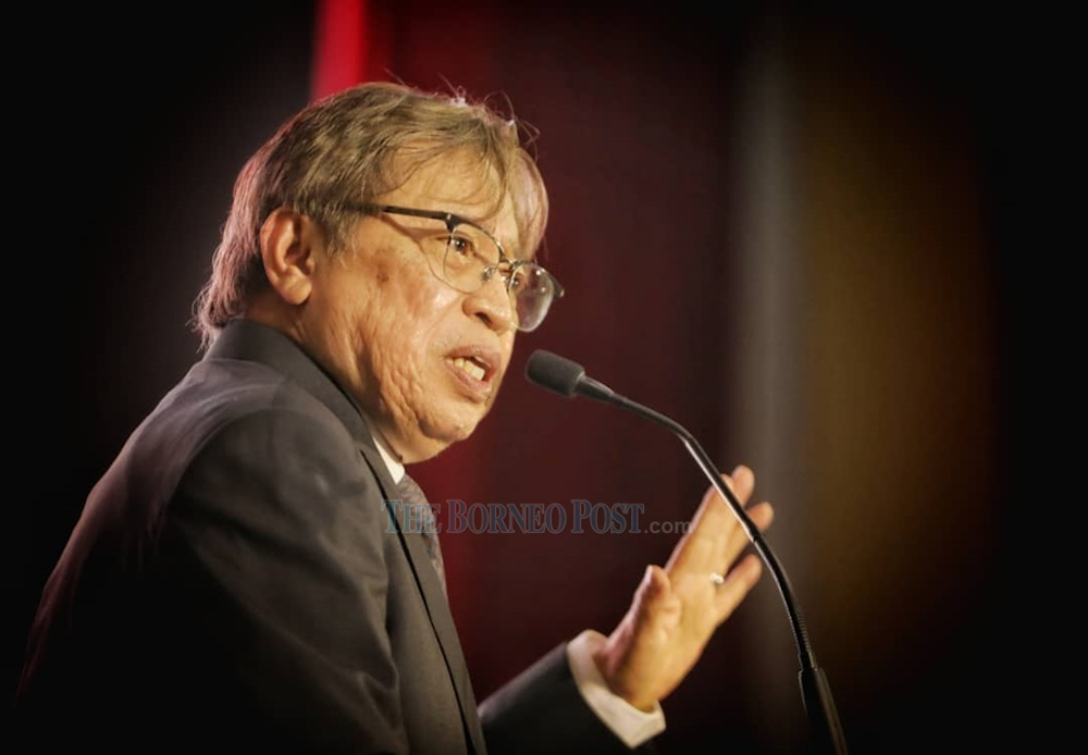 Sarawak Chief Minister Datuk Patinggi Abang Johari speaks during the DBNA event September 3, 2020. — Picture by Chimon Upon/Borneo Post